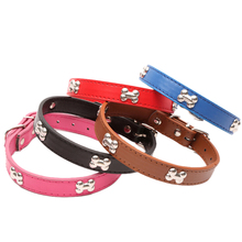 S-L Size Brand PU Leather Dog Collar Puppy Pet Necklace Crystal Rhinestone Bone Charms Pendants For Small Dogs Accessories(China)