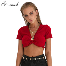 Buy Simenual Deep v neck t-shirts women summer 2018 short sleeve sexy hot red crop top female t-shirt fashion slim tee shirt femme for $7.32 in AliExpress store
