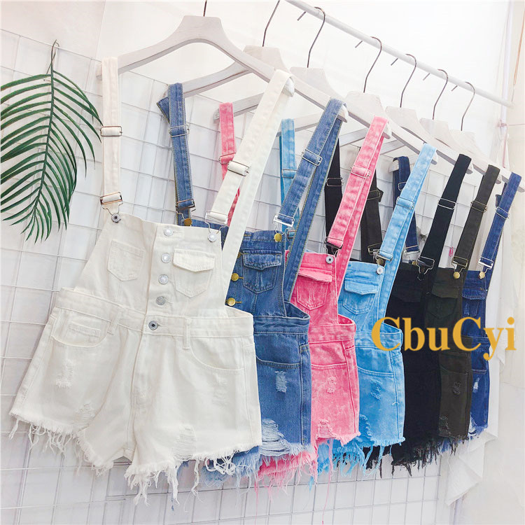 Denim Bibs Schoolgirl 2018 Spring New Loose Korean Thin Thin hole Flashes Fringe Shorts (6)