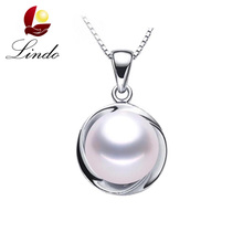 High Luster 100% Natural Freshwater Pearl Pendant For Women Classic Elegant 925 Sterling Silver Pendants Wedding Jewelry 9-10 mm