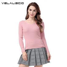 VELALISCIO Halter knitted Sweater Autumn Winter Pullover Women Tops Slim V Neck Women Sweaters And Pullovers Casual Pull Femm(China)