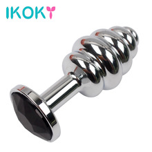 Buy IKOKY Spiral Anal Beads Butt Plug Erotic Stainless Steel Prostate Massager Anal Plug Sex Toys Woman Men Gay Crystal Jewelry