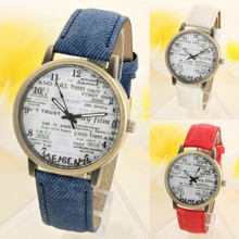 2016 Watches Women Fashion Denim Leather Wristwatch News Paper Watches Men Quartz Watch Personality Casual Vintage Relogio#77