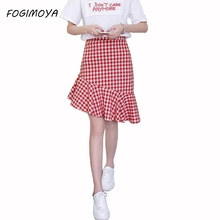 Fogimoya Plaid Skirt Women Ruffles Skirts Casual Chic Style Red and White Plaid Mermaid Skirt Summer Autumn Street Style Skirts
