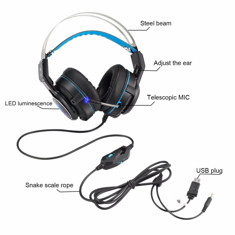 Kotion New Model USB PS4 XBOX1 Noise Isolating Canceling Gaming Over Ear Deep Bass Headset with LED headphone with Microphone