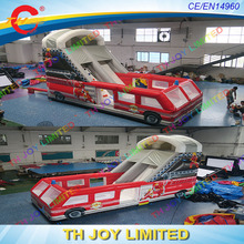 Free sea shipping! 8X3.5m commercial grade rental inflatable bus slide(China)