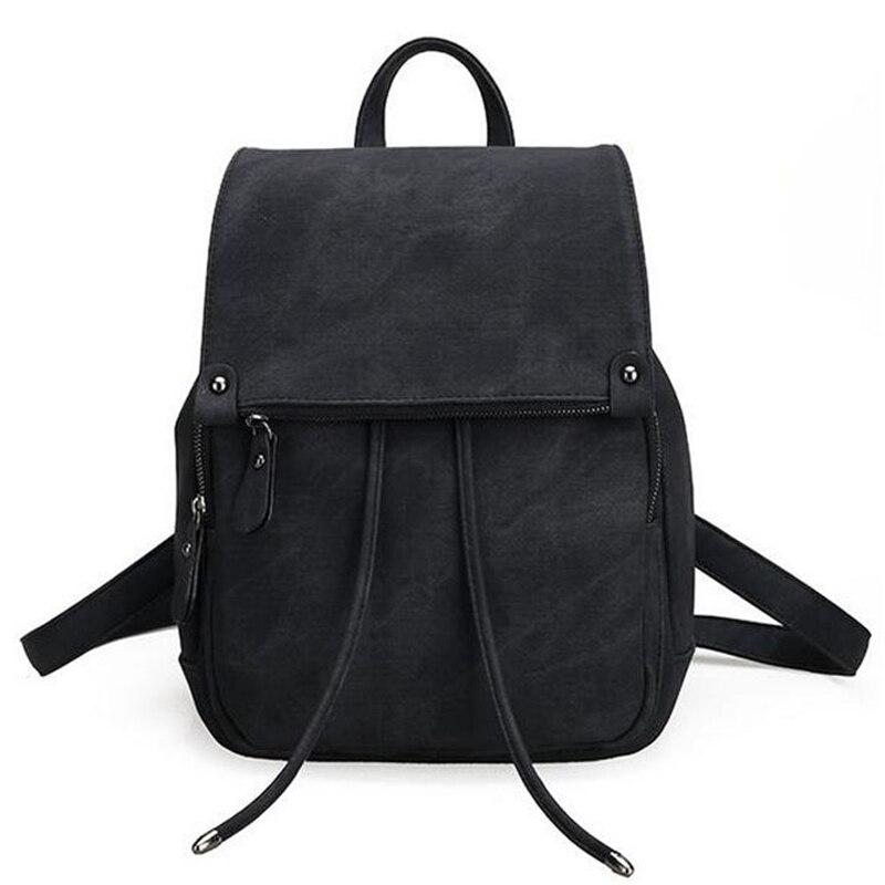 Vintage Women Backpack Simple Style Black Backpacks For Teenage Girls Bag PU Leather Rucksack School Large Bags mochila XA839H<br><br>Aliexpress