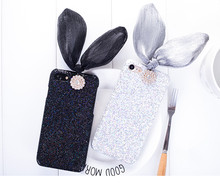 Hotsale Sweet Black Glitter Rabbit Phone Case Bow Bling Case for Iphone 7 7plus 6 6s 6lus Hard Plastic Case Cover Freeshipping