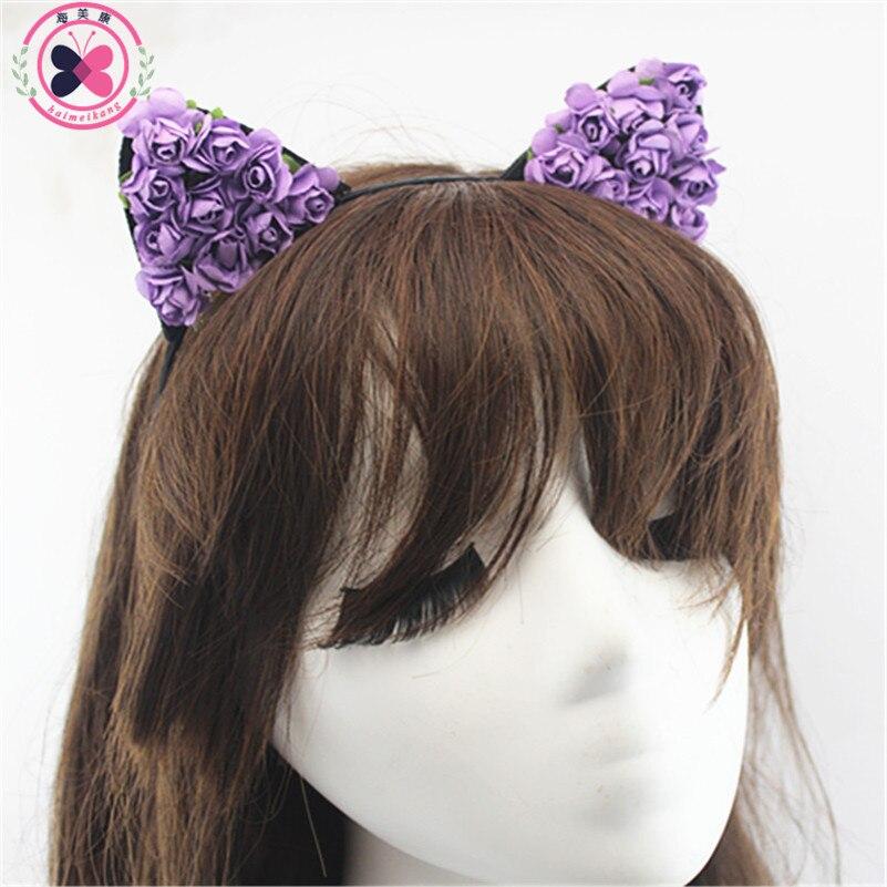 haimeikang 1 pcs Cat Ears  Hair Hoop Small Devil Cat Headband  Paper Flower Hair Bands Headdress Girls Kids Hair Accessories<br><br>Aliexpress