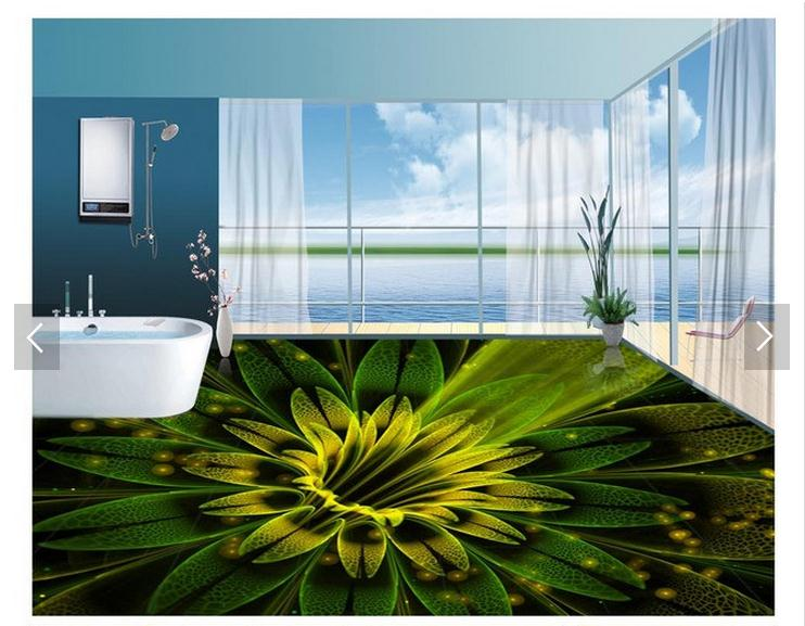 customized 3d photo wallpaper 3d pvc floor painting wallpaper Dream Abstract beautiful flowers 3D floor tile room wallpaer<br>