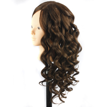 Natural Animal Hair and Synthetic Hair Hairdressing Training Head Mannequin Black 20'' Mannequin Head Can Be Curly With Makeup(China)