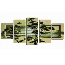 Handpainted Scenery Paintings Nature Green Tree Oil Painting on Canvas Modern Home Decoration Wall Art Huge 5 Panel Pictures Set