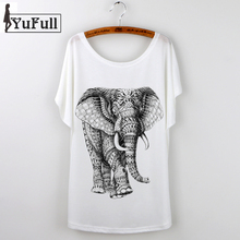 Buy Elephant Print 2017 Tshirt Women T shirt Female Short Sleeve Harajuku Cartoon Casual Short Sleeve o-neck Loose White Top Tees for $4.88 in AliExpress store