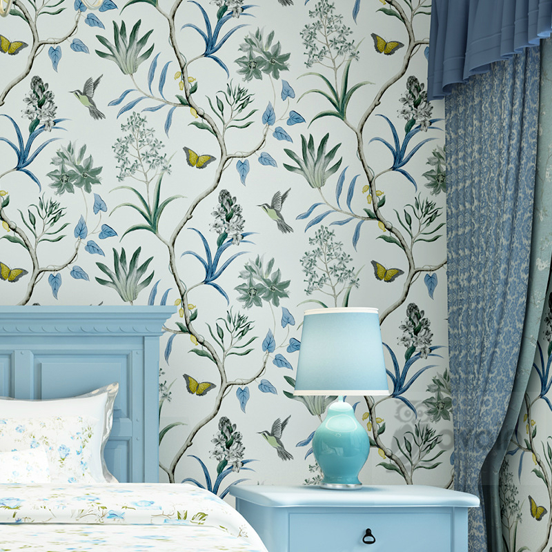 Non-Woven Modern Butterfly And Birds Flowers Beige Pink Blue Beautiful Garden Floral Wallpaper Wall Paper Roll<br><br>Aliexpress