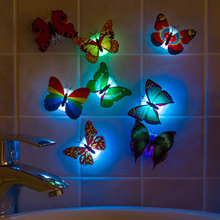 Wholesale Colorful Luminous Butterfly Night Light Home Room Party Wedding Decoration Lights Lamp With Sticker Children Kids Gift