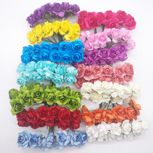 144Pcs/lot 2CM Head Multicolor Paper Artificial Flowers Mini Rose Flower Head Wedding Bouquet Scrapbooking Party Decoration 9Z(China)