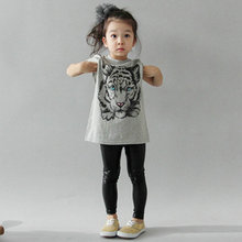 2-7 Y Baby Girls Kids Korean Tiger Printed Casual T-shirt Cotton Blouse Shirt Clothes(China)
