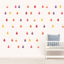 Colorful Raindrop Wall Sticker Raining Water Drop Baby Bed Room Home Decor Wall Decals Kids Room Poster Mural(China)