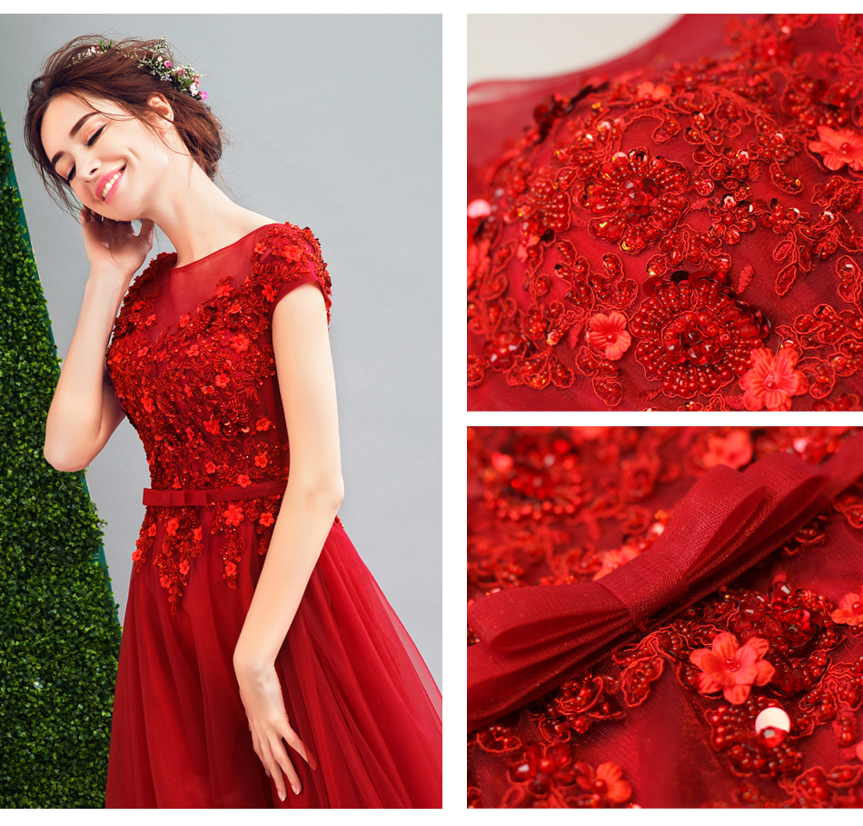 Angel Wedding Dress Marriage Evening Bride Party Prom Bridal Gown Vestido De Noiva 2017 Wine red, diamond flowers 226 11