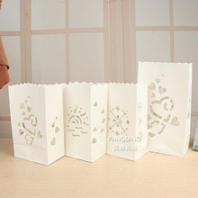 2016 New Arrival Heart Sun light Holder Luminaria Paper Lantern Candle Bag Birthday Party Outdoor Wedding Decoration 10pcs/lot