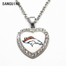 1pcs Denver Broncos 50cm Chain Necklace Silver Heart Crystal Football Glass Pendant Necklace For Women Long Necklace Jewelry(China)