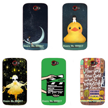 2017 Cute Duck Cartoon Design Phone Case Skin Cover White Hard Case Cover For HTC ONE S Case