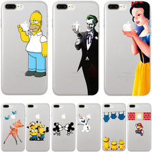 For iPhone 7 Case Cute Cartoon Minions Bambi SnowWhite Pattern Cases Cover For iPhone 7 Plus Phone Back Coque Fundas