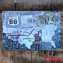 Historic Route 66 Metal Tin Sign Iron Antique Tin Painting House DECOR Coffee Shop Sticker 20X30CM(China)