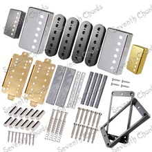 A Set LP Guitar Humbucker Pickup Kits Producing Accessories,Brass Cover & Baseplate & Plastic Pickup Ring & Bar Magnet