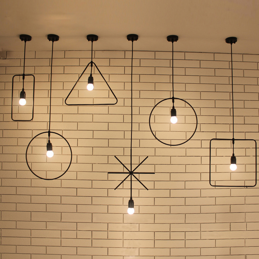 Simple creative geometric industrial pendant lights iron bar exhibition hall restaurant soft America lamp<br>
