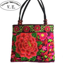 National trend embroidery bags Women  double faced flower embroidered one shoulder bag Small handbag