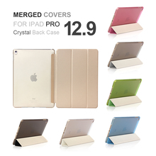 Free Shipping For iPad Pro 12.9 inch PU Leather Magnet Slime Ultra Thin Crystal Back Merge Part Tri-fold Case Cover(China)