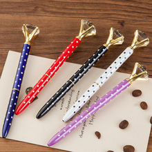 20pcs Kawaii Crystal Ball Pens Ballpen Fashion Dot Girl 19 Carat Large Diamond Ballpoint Pen Pens For School Stationery Supplies