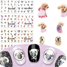1X  Cute Cat Dog Design Water Transfer Stickers Nail Art Wraps Nails Tips Decals Temporary Tattoos Nail Sticker TRBLE2292-2302