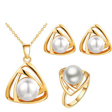 queen design new arrival Brand bridal women 18KGP gold women simulated Pearl pendant Necklace Earrings Jewelry sets 29073