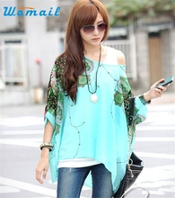 Hot Marketing Large Size 1PC Bohemia Women Floral Batwing Chiffon Loose T-Shirt Top WJul6 Drop Shipping