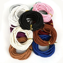5m/lot Multicolored Manmade Braided Leather Cord String Hemp Rope 4mm for DIY Jewelry Making Bracelet Necklace(China)