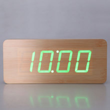 Wooden Clock Digital LED Desktop Alarm Clock with Green White Light LED Display Wooden Alarm Clock Electronic Clocks Desk