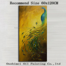 Top Artist Hand-painted Good Quality Modern Wall Painting Peacock Works Handmade Beautiful Popular Animal Peacock Oil Paintings