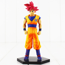 16cm Dragon Ball Z Goku Figure Toy Super Saiyan God Red Hair Son Gokou Anime DBZ Model Doll