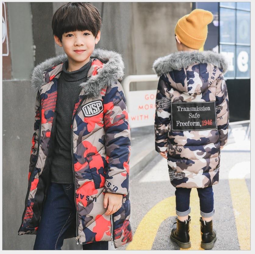 Boys Winter Coats 2017 Fur Collar Children Down Jackets Hooded Teenagers Girls Jackets Camouflage Kids Parka Children OuterwearÎäåæäà è àêñåññóàðû<br><br>