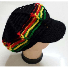 5pcs/lot Jamaican style reggae punk rasta color knitted peaked cap handmade crochet hippie halloween octagonal design hat gorro(China)