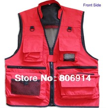 Free Shipping unisex multi-pocket photography fishing vest wedding celebration advertisement vest director vest