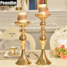 PEANDIM Wedding Decorations Metal Candle Stand Flowers Vase Candlestick Gold Plate Candle Holder(China)
