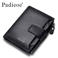 Padieoe new fashion mens wallet leather genuine luxury brand small wallet zipper short men's leather wallet with coin pocket(China)