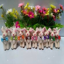 New sale  8cm small size mini rabbit jointed plush stuffed doll bouquet toy wholesale 30pcs/lot,jointed rabbit,Easter gift t