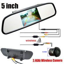 "HD 5"" LCD Car Rear View Reverse Mirror Monitor + Wireless Adapter  Waterproof Rear View Camer Backup Parking Camera Cam Kit"