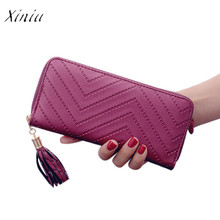 Wallet Women Fashion Female Purse Lady Artificial Leather Card Holder Long Wallet Clutch Tassel Zipper Casual Handbag Purse(China)