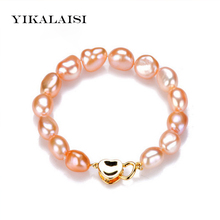 YIKALAISI 2017 100% real Natural Freshwater Pearl Bracelet 9-10 mm pearl jewelry with 925 sterling silver jewelry For Women(China)