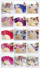 New Chinese Japanese Vintage Fancy Folding Fan Hand Wooden Lace Silk Flower Dance Fans Party Supplies For Gift